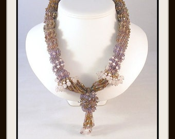 Clearance SALE  Sunrise in New Mexico Necklace - Glass and Crystal Bead Woven Necklace. EBW TEAM