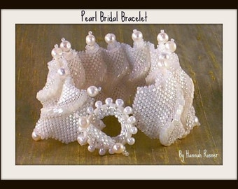 Bead woven White Bridal Wave Pearl and Glass Bracelet by Hannah Rosner