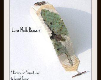 Bead Pattern Luna Moth Print Beaded Bracelet peyote stitch tutorial instructions