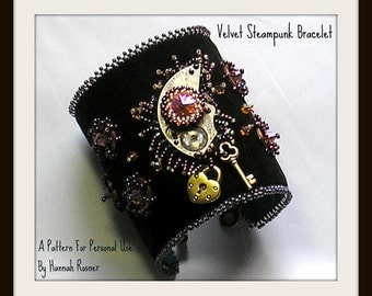 JUST UPDATED Beading Pattern Black Velvet Steampunk Beaded Bracelet TUTORIAL Bead Embroidery by Hannah Rosner