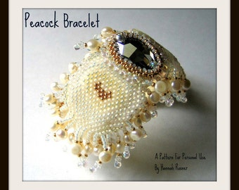 Beading Pattern Peacock Feather Bead Embroidered and Woven Cuff Bracelet TUTORIAL INSTRUCTIONS