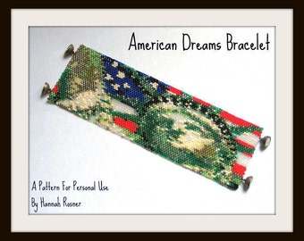 Bead Pattern American Dreams Beaded Bracelet tutorial instructions Statue Of Liberty with Old Glory - peyote stitch or loomwork