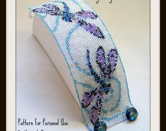 Bead Pattern Busy Dragonflies Bracelet - Peyote Stitch or loomwork TUTORIAL INSTRUCTIONS - Hannah Rosner