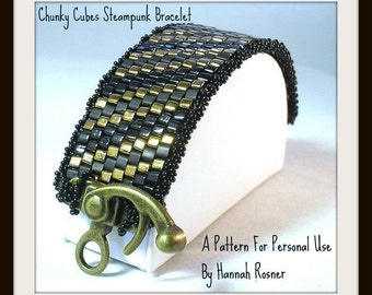 Bead Pattern Chunky Cubes Steampunk Beaded Bracelet peyote stitch tutorial instructions