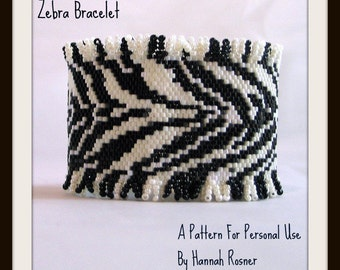 Bead Pattern African Zebra Print Beaded Bracelet with toggle clasp peyote stitch tutorial instructions