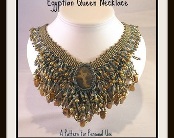 RECENTLY UPDATED - Bead Tutorial Egyptian Queen Seed Bead Wide Collar Necklace pattern instructions by Hannah Rosner ladder stitch & fringe