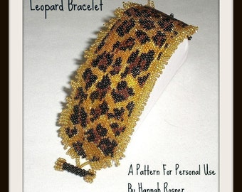Bead Pattern African Leopard Print peyote stitch or loomwork Beaded Bracelet with toggle clasp tutorial instructions