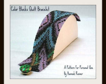 Beading Pattern Color Blocks Quilt Beaded Bracelet TUTORIAL INSTRUCTIONS