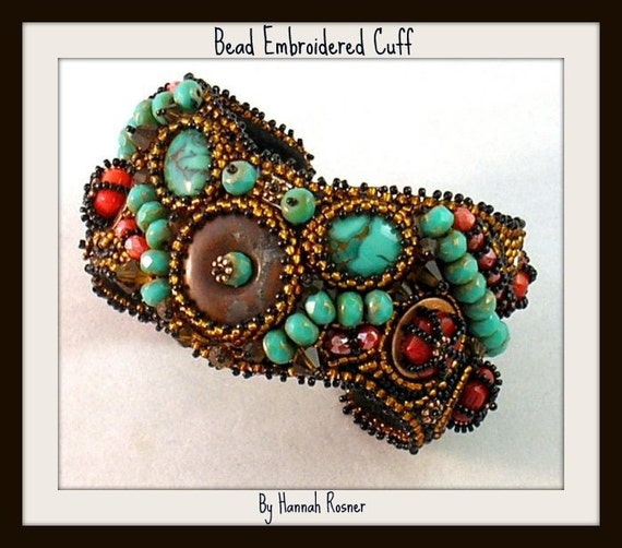 CLEARANCE SALE Copper Coral and Turquoise Bead Embroidered Cuff Bracelet by Hannah Rosner
