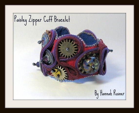 Paisley Zipper Cuff Bracelet - Purple Blue and Red with Steampunk Clasp