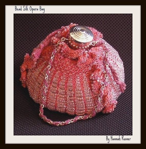 CLEARANCE SALE Hannah Rosner Tri-Sided Beaded Knit Handdyed Silk Opera Bag Purse