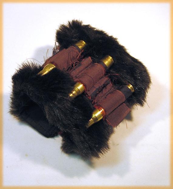 CLEARANCE Fake Fur Rifle Casing and Thai Silk Dancing Dervish Steampunk Gypsy Cuff Bracelet by Hannah Rosner