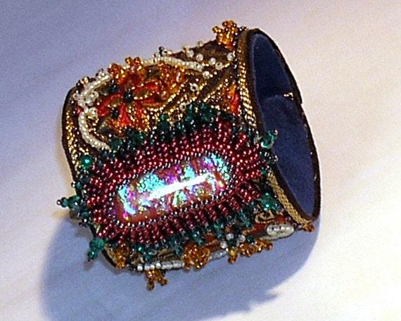 Hannah Rosner Brocade Beaded Bracelet - Red Gold and Teal