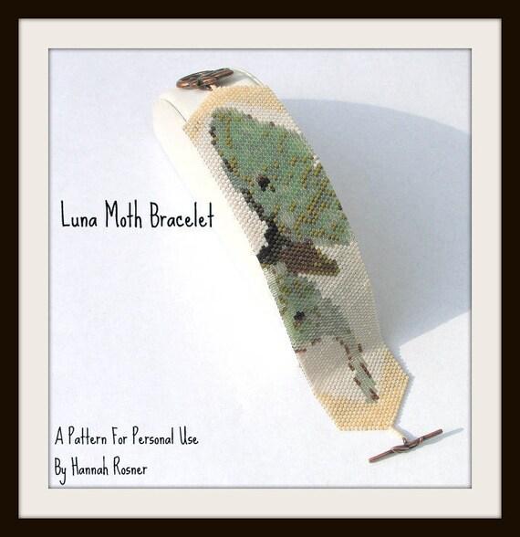Bead Pattern Luna Moth Print Beaded Bracelet peyote stitch tutorial instructions
