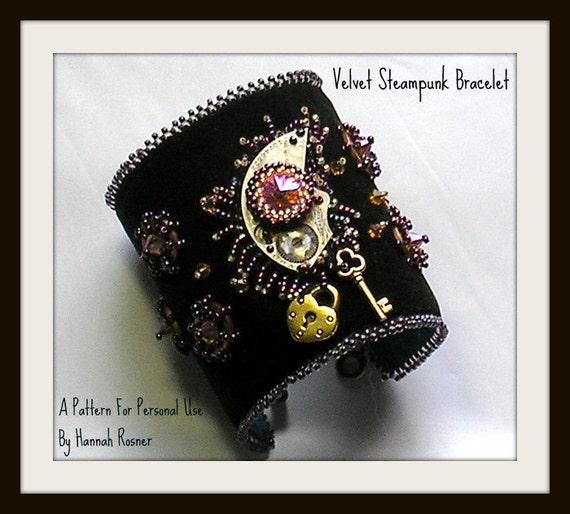 Beading Pattern Black Velvet Steampunk Beaded Bracelet TUTORIAL - Hannah Rosner