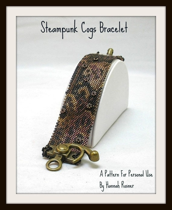 Bead Pattern Steampunk Cogs Beaded Bracelet tutorial - peyote stitch instructions - Hannah Rosner