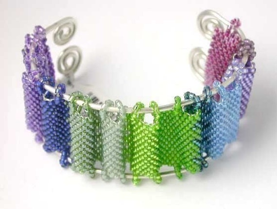 HOLD for LINDA M - Beading Tutorial Peyote Stitch Japanese Screen Seed Bead Bracelet pattern with Fast Peyote instructions