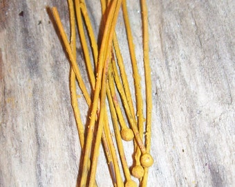 20 gauge Balled Headpins Patina Saffron Yellow