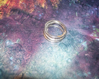 Five Urban Rustic Sterling Silver Stack Rings