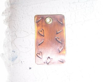 Stamped Copper Tag Hearts