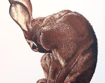 Rabbit Linocut Print