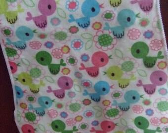 burp cloth, sweet little colorful birds burpies