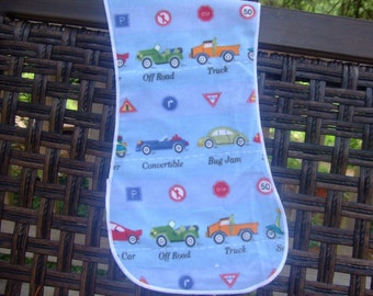 burp cloths, Vehicles , cars, trucks ,off road