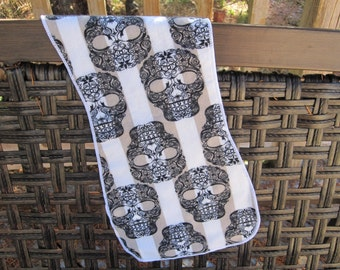 Day of the Dead Sugar skulls burp cloth, Last one of this print