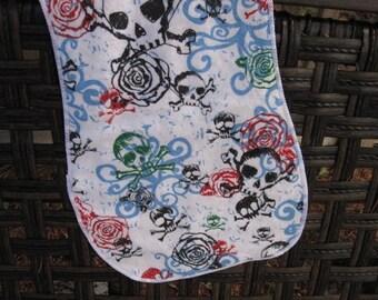 Burp Cloth skulls and Roses