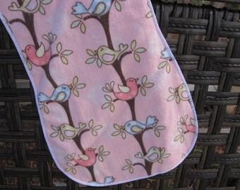Bird pink burp cloth