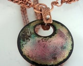 Fired Enamel on Copper Domed Disk pendant Copper Chain Mail necklace