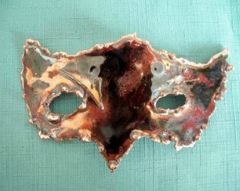 Mask of a Fox in Enameled Copper torch cut One of a Kind