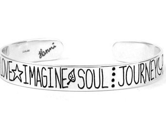 Inspirational Bracelet - Soul Imagine Peace Love - Inspirational Jewelry - Sterling Silver Cuff Bracelet
