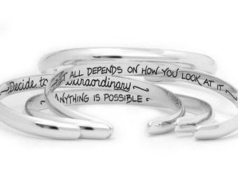 Personalized Cuff Bracelet - Custom Hidden Message Word Jewelry - Etched Sterling Silver by Hanni
