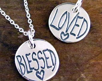 BLESSED Necklace - Silver LOVED Charm - Daughter Necklace Friend Jewelry