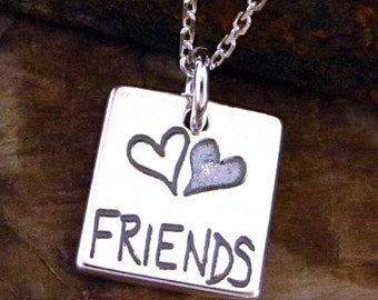 Friends Necklace - Silver Friendship Jewelry - Friends Forever Charm #SP-19