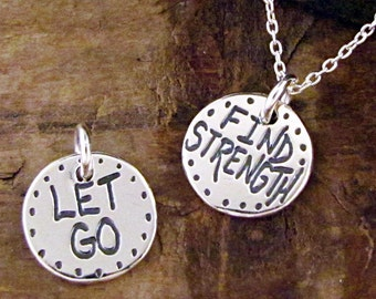 Find Strength Necklace - Sterling Inspirational Necklace - Motivational Jewelry