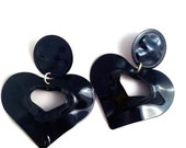 heart black dark wave metal love lovers post stud earring large big diva glam basketball wives enlarged size
