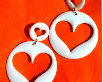 heart white  natural  90s 80s open love lovers post stud oversized earring large big diva glam basketball wives enlarged size