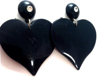 black solid  valentines oversized earring post stud dangle heart gothic rave  lovers love barbie doll dress up costume  funky cool