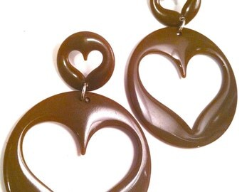 heart BROWN chocolate delish hello sweet girl 80 love lovers post stud oversized earring large big diva glam basketball wives enlarged size
