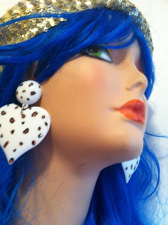 LEOPARD HEART WHITE  cheetah  nyc retro chic independance  love  post usa oversized earring large big fashion wives enlarged size
