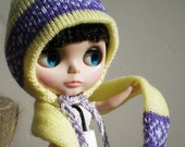 Yellow and Purple Blythe Knit Earflap Hat and Scarf Handmade with Nordic Design in Easy Wash Yarn