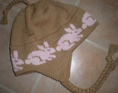 Knit Kids Hat Brown  with Pink Bunny Hat with Ear Flaps in  Soft Cotton Child Size
