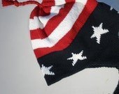 Mens Knit Hat USA Patriotic Helmet Hat  with Earflaps Red White Blue Flag Colors - BabbidgePatch