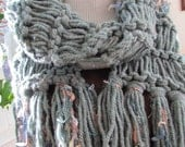 Blue Gray Scarf Chunky Hand Knit Scarf with Fringe Sage Green Peach Blue Gold Ready to Ship