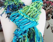 Blue Green Scarf Womans Knitted Scarf Peapod Green Caribbean Cyan Blue Ready to Ship