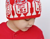 Red Hat Robot Knit Hat For the Kids in a galaxy far far away Red Off White and Grey Organic Cotton