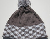 Brown Knit Hat FairIsle Cross Checkered Design Brown and White with Pom Pom