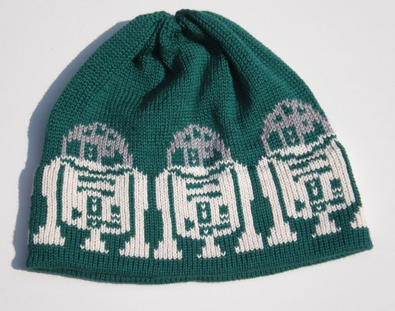 Knit Hat For the Man in a galaxy far far away Forest Green Silver Off White